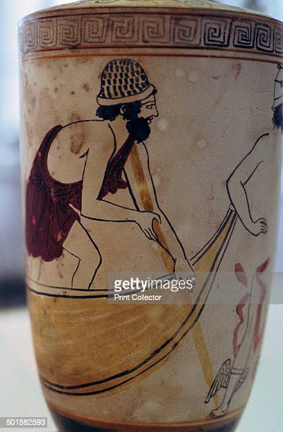 This pot shows Charon and Hermes in the underworld Charon is on the left rowing his boat across the river Styx and Hermes' arm can be seen on the...