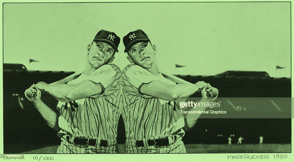 This print of Mickey Mantle batting both left and right is issued by Mark Rucker in 1980 in Saratoga Springs, New York.