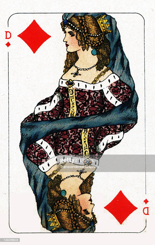 This Queen of Diamonds playing card from the Turnhout Pack was printed in Amsterdam Holland circa 1900