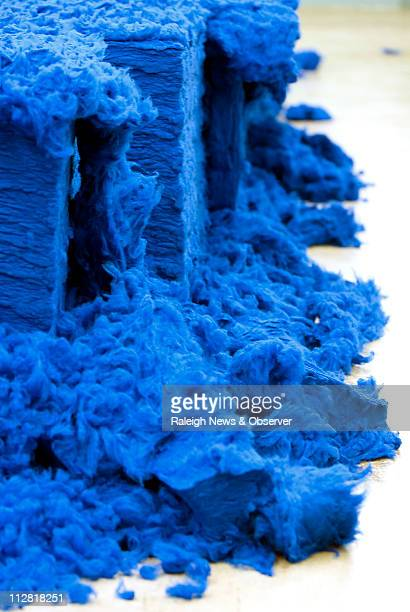 This raw mound of Pacif Blue a dyed acrylic fiber will be turned into yarn at the Glen Raven manufacturing facility in Norlina North Carolina on...