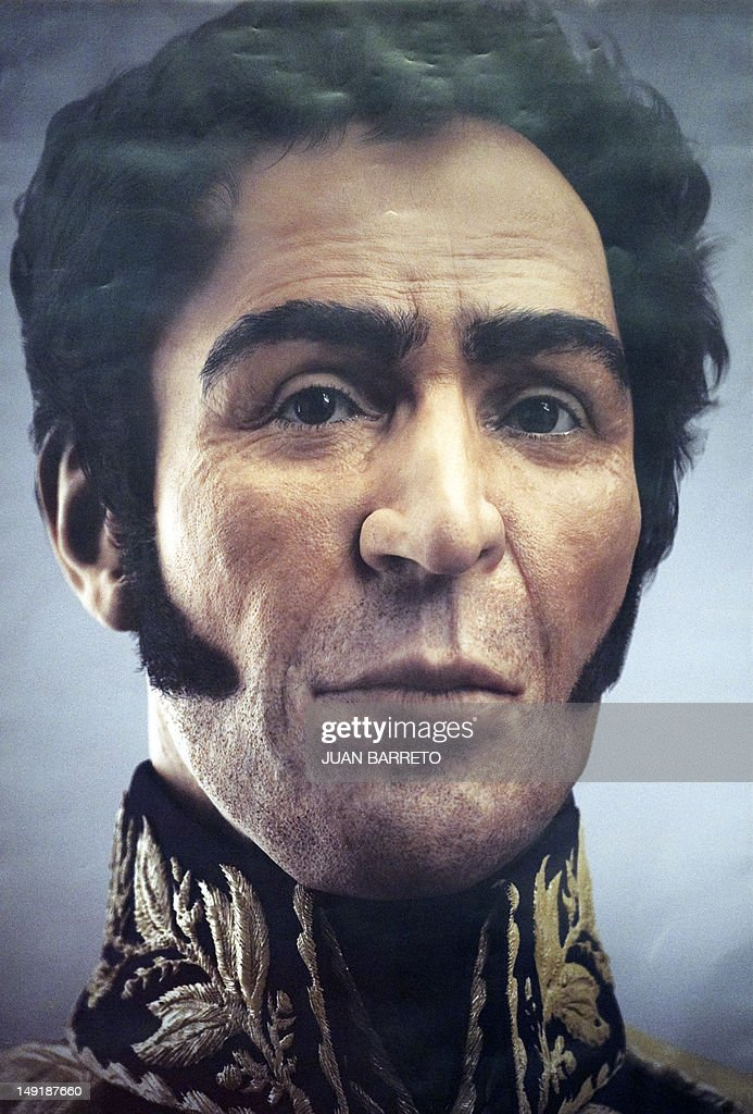This reproduction of an artist´s rendition of the possible face of Liberator Simon Bolivar --a digital rendering from genetic data, following the exumation of Bolivar´s remains in 2010-- is presented during celebrations of Bolivar's brithday in Caracas on July 24, 2012.