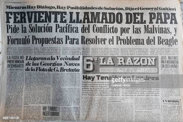 This reproduction of the front page of La Razon newspaper of the April 23th reads 'Fervent Pope Call' regarding a peaceful resolution of the conflict...