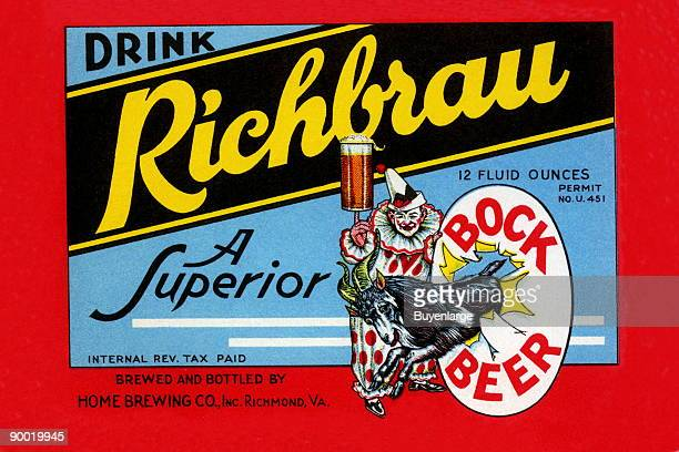 This rich brew promises a superior beer This label acts as both a bottle label and an advertisement by promoting 'Drink' The clown balancing a full...