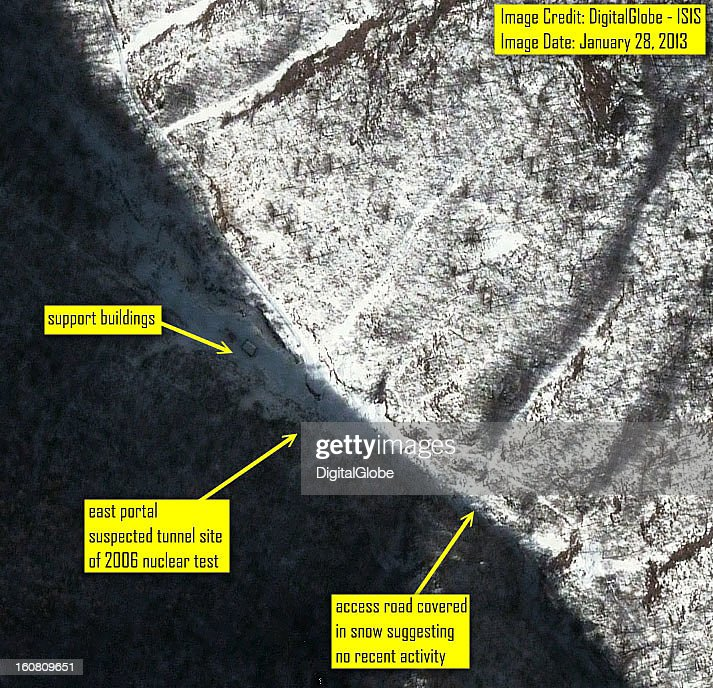 This satellite image of the east side of the Punggyeni Nuclear Test Facility in North Korea collected on January 28 2013