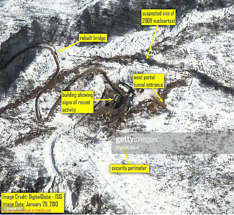 This satellite image of the Punggyeni Nuclear Test Facility in North Korea collected on January 28 2013 confirms media reports that activity...