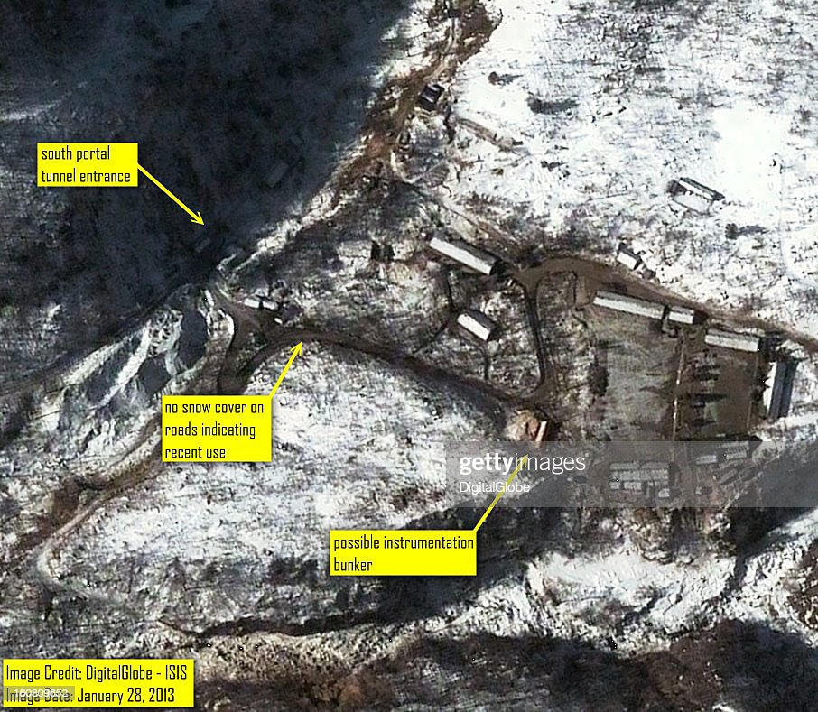 This satellite image of the Punggye-ni Nuclear Test Facility in North Korea collected on January 28, 2013 confirming media reports that activity continues to be seen at the south part of the facility.