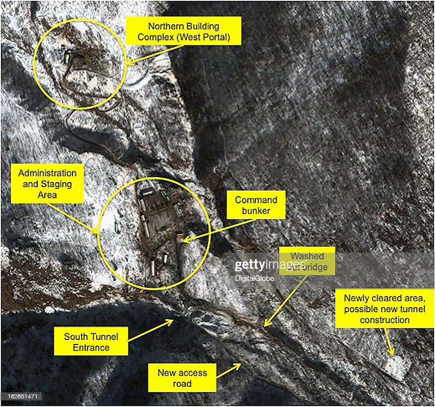 This satellite image of the Punggye-Ri facility collected on January 28, 2013.