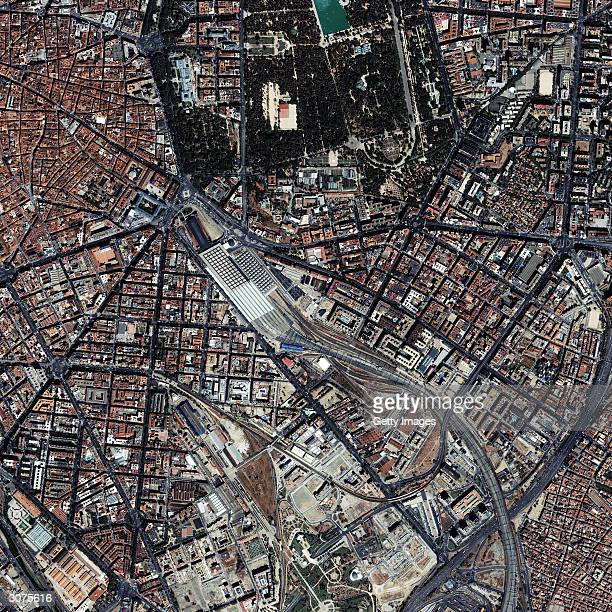 This satellite image provided by European Space Imaging dated August 23 2003 shows the Atocha Railway Station located in the southern part of...