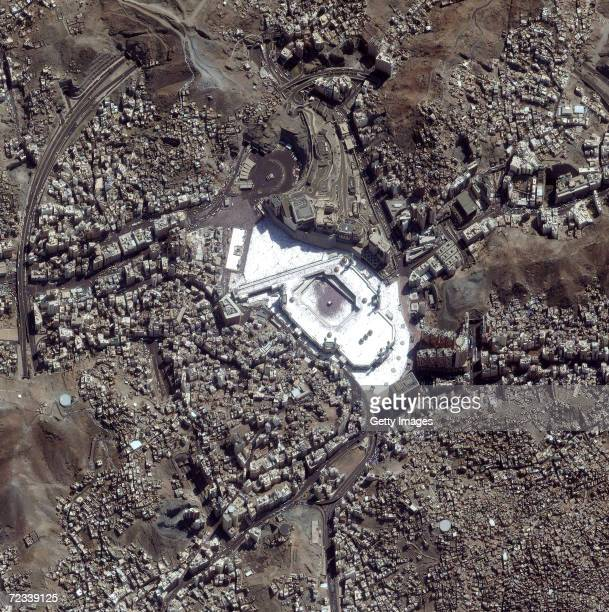This satellite image shows a large number of Muslims crowding the holy site of Mecca Saudi Arabia February 22 2002 during the Hajj an annual...