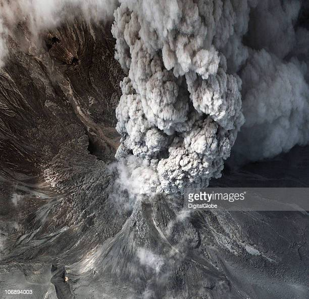 This satellite image shows the eruption and lava flow November 12 2010 of Mount Merapi Indonesia In a series of eruptions that began October 26 and...