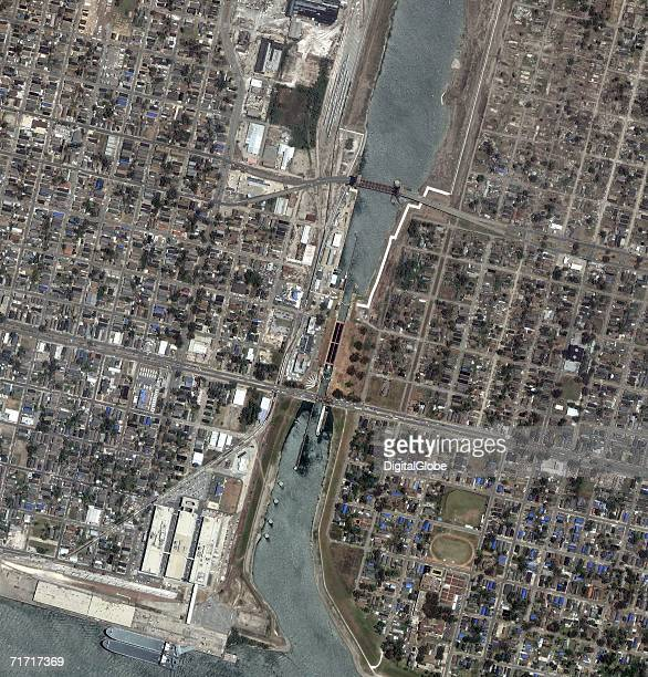 This satellite image shows the repairs done to the SureKote Levee being repaired after the damage of Hurricane Katrina collected on June 13 2006 in...