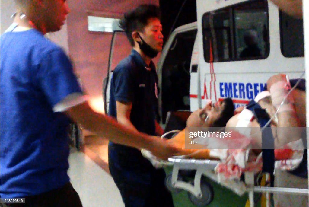 This screen grab taken from video on March 1 2016 shows medical personnel transferring Saudi preacher Sheikh Aaidh alQarni into hospital in the...