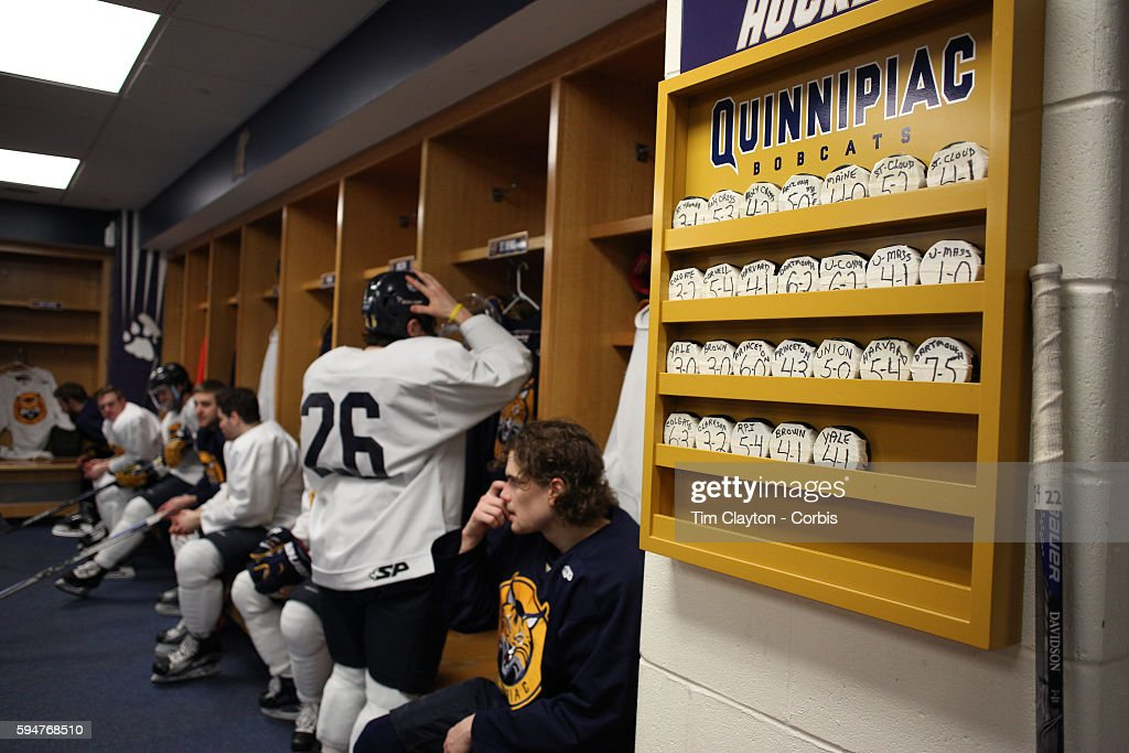 This seasons wins displayed in the dressing room during the Quinnipiac University Men's College Ice Hockey team training at the TD Bank Sports Center...