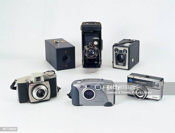 This selection showing the changing design of Kodak cameras includes George Eastman's original 1888 Kodak camera folding cameras box brownies...