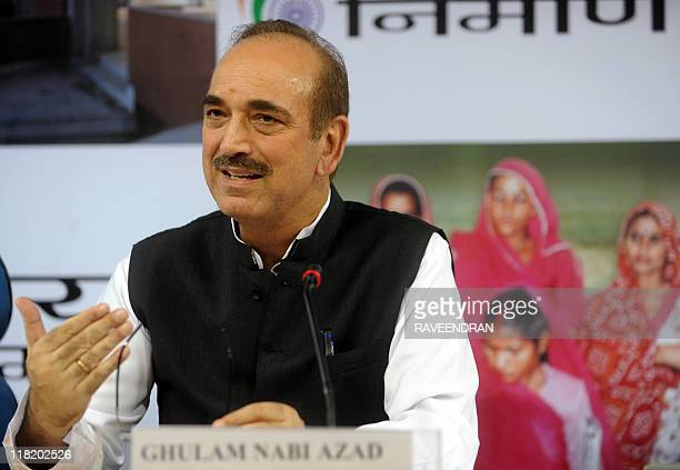 This September 17 2009 file photo shows Indian Health Minister Ghulam Nabi Azad speaking at a press conference in New Delhi On July 5 2011 Indian gay...