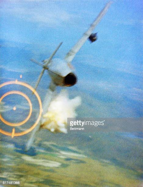 This sequence from gun camera footage shows Major Ralph L Kluster St Louis Mo shooting down a MIG17 on the 3rd of June over North Vietnam with 20mm...