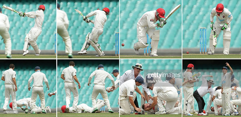 This sequence of images 459545636 459545640 459545608 459545632 459545614 shows Phillip Hughes of South Australia as he is struck in the head by a...