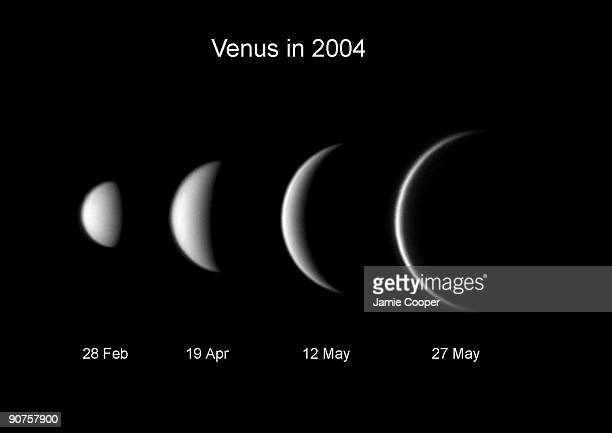 This set of images taken in from Northampton in 2004 show the phases and relative size of Venus as seen from Earth as it moves around the Sun The...