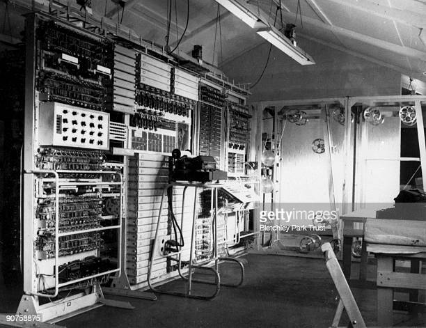 This shows control panels of Colossus the world's first electronic programmable computer at Bletchley Park in Buckinghamshire Bletchley Park was the...