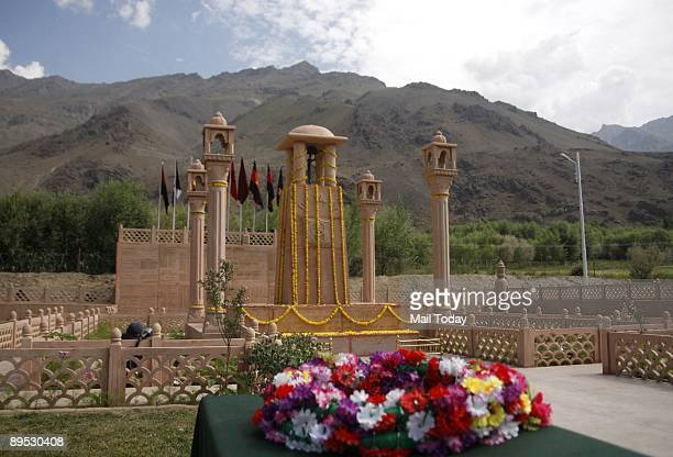 This shows the Kargil war memorial in the backdrop of recaptured post of Tololing in Drass July 26 is the tenth anniversary of the Kargil war