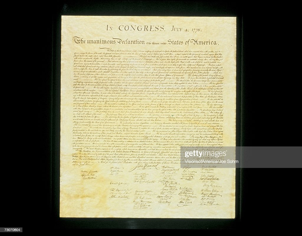 This shows the original Declaration of Independence in its entirety written on its now faded parchment paper. : Stock Photo