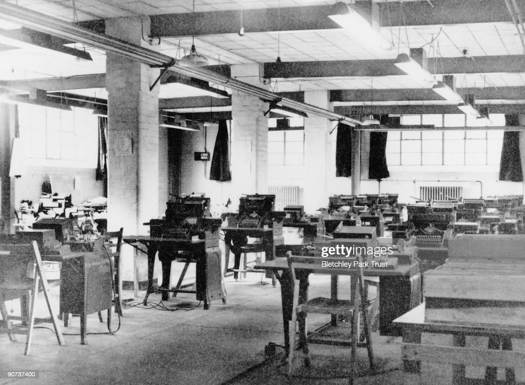 This shows the punch room in C Block at Bletchley Park, Buckinghamshire, the British forces' intelligence centre during WWII. The cryptographers at Bletchley Park deciphered top-secret military communiques between Hitler and his armed forces. These communiques were encrypted in the 'enigma' code which the Germans considered unbreakable, but the codebreakers at Bletchley cracked the code with the help of 'Bombe' codebreaking machines, and so aided the allies victory.