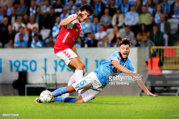 This situation give Malmo FF a penalty kick when Marko Biskupovic of Kalmar FF and Erdal Rakip of Malmo FF in action during the Allsvenskan match...