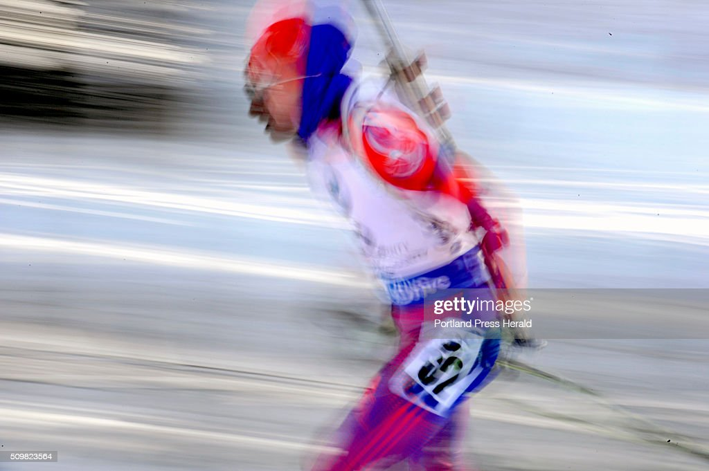 This slow exposure shows trails of motion as Clare Egan (cq) of Cape Elizabeth competes in the women's 10-kilometer pursuit at the BMW IBU World Cup Biathlon at the Nordic Heritage Center in Presque Isle, Friday, February 12, 2016. Egan placed 23rd in the event, up nine spots from her qualifying position. It was the second best finish of her career.