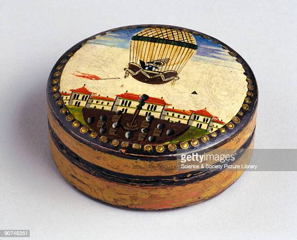 This snuff box is taken from the PennGaskell collection of 'ballooniana' Public balloon ascents began to be held in pleasure gardens after the first...
