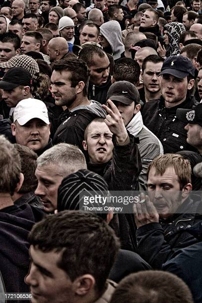 CONTENT] This social documentary image of an English Defense League protester swearing at the photographers at a demonstration held on the 3rd of...