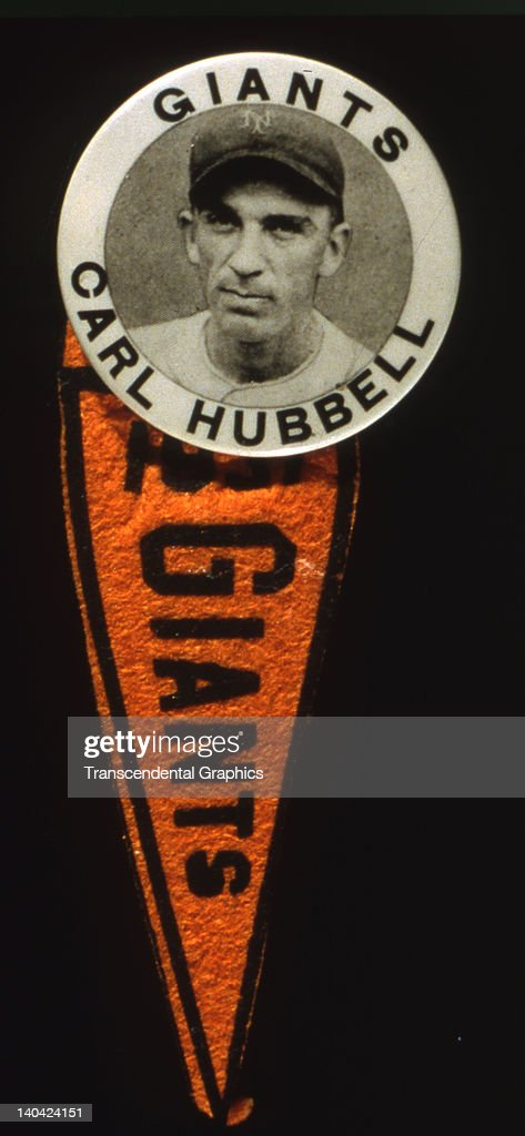 This souvenir button was sold in the Polo Grounds and features Hall of Fame pitcher Carl Hubbell, produced in New York City in 1935.