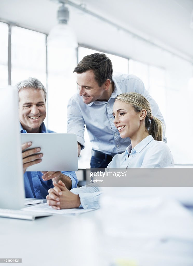 This tablet is so useful! : Stock Photo