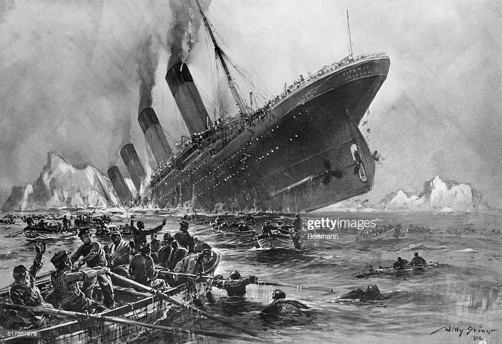 This terrible scene painted by German artist Willy Stoewer depicts the sinking of the Titanic the proud British luxary liner which struck an iceberg...