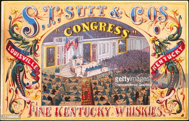 This trade card for Kentucky whiskey is one of a set published around 1870 in an unknown American location