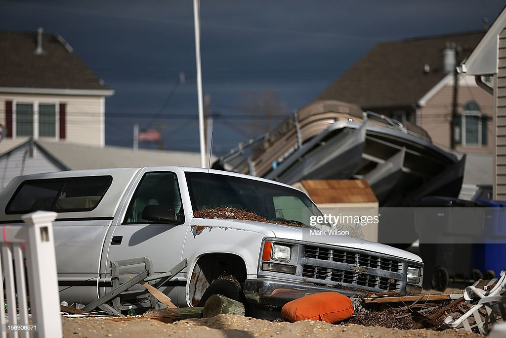 This truck, along with many other vehicles and boats damaged by Superstorm Sandy, have not been touched since the storm hit, on November 24, 2012 in Ortley Beach, New Jersey. New Jersey Gov. Christie estimated that Superstorm Sandy cost New Jersey $29.4 billion in damage and economic losses.