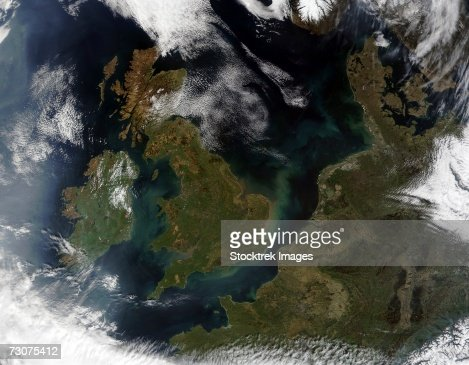 This true-color MODIS image showcases Northern Europe. : Stock Photo