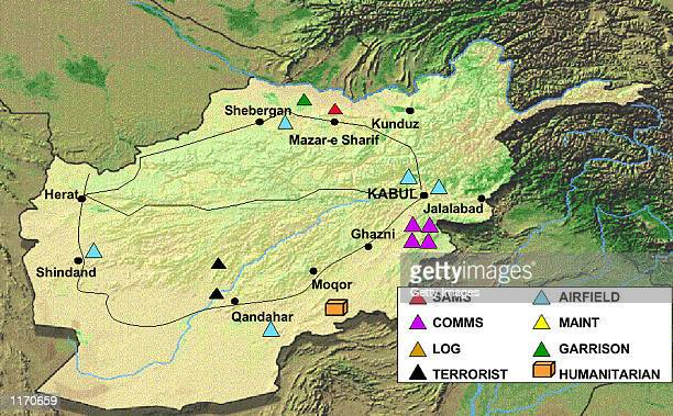 This undated Department of Defense map released October 9 2001 shows terrorist training camps military sites and humanitarian aid sites in...