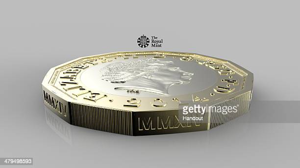 UNSPECIFIED This undated handout image supplied by the Royal Mint on March 19 shows the new design for a 12sided one pound coin The coin is designed...