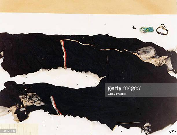 This undated handout photo shows the burnt remains of clothing belonging to the two murdered ten year old girls Holly Wells and Jessica Chapman that...