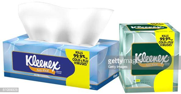 This undated illustration shows Kleenex Brand AntiViral tissue KimberlyClark Corporation announced on July 14 2004 that the new facial tissue product...