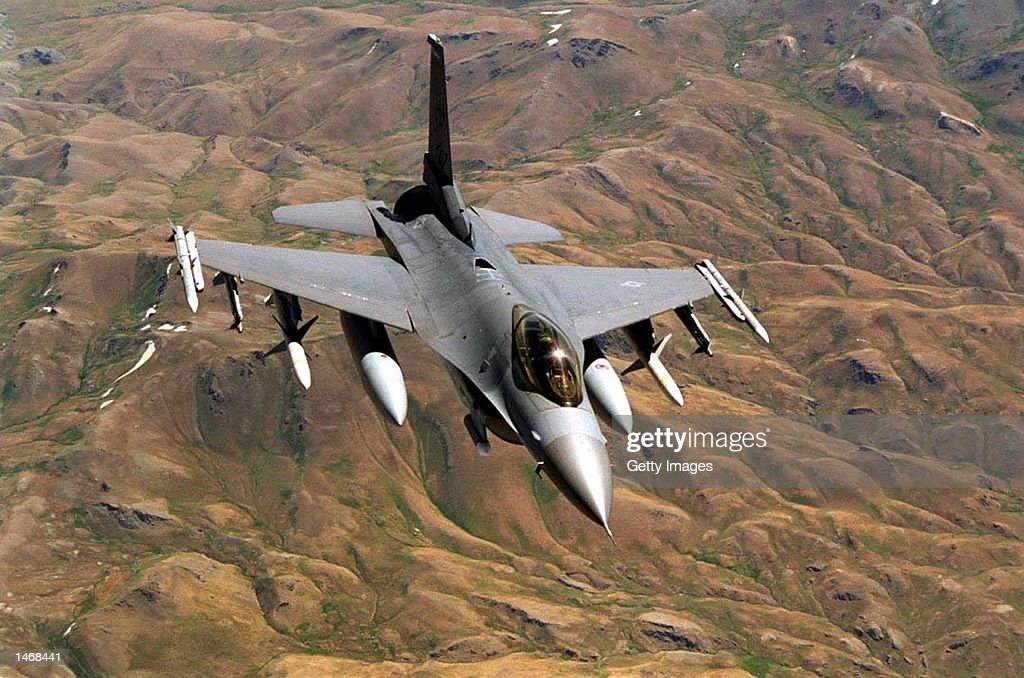 This undated image shows a US Air Force F16 on patrol over the 'NoFly Zone' in Northern Iraq Coalition aircraft have recently engaged Iraqi air...