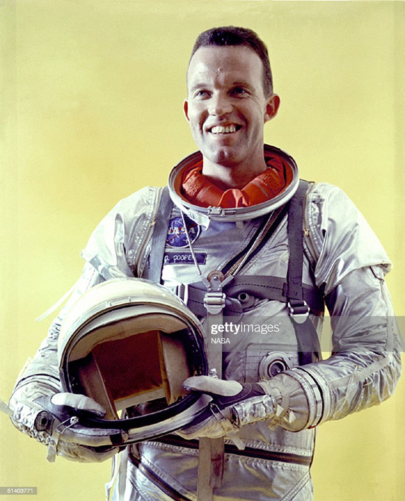 This undated NASA handout shows astronaut <a gi-track='captionPersonalityLinkClicked' href=/galleries/search?phrase=Gordon+Cooper+-+Astronaut&family=editorial&specificpeople=90970 ng-click='$event.stopPropagation()'>Gordon Cooper</a> in a spacesuit. Cooper died October 4, 2004 at his home in Los Angeles at the age of 77. One of the original Mercury Project astronauts, Cooper became the first man to spend 34 hours in space, as well as the first man to sleep in space.