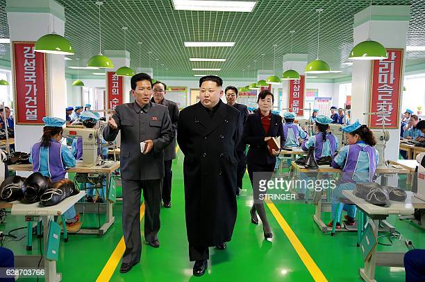 This undated photo released by North Korea's official Korean Central News Agency on December 9 2016 shows North Korean leader Kim JongUn at the...