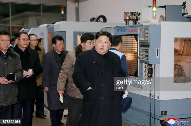 This undated photo released by North Korea's official Korean Central News Agency on November 21 2017 shows North Korean leader Kim JongUn at the...