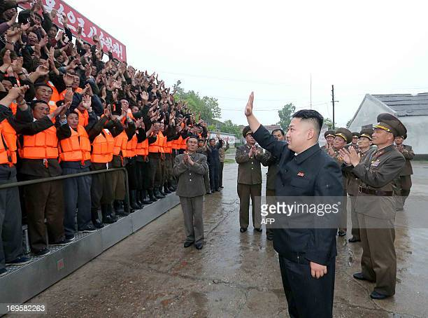 This undated picture released by North Korea's official Korean Central News Agency on May 28 2013 shows North Korean leader Kim JongUn inspecting the...