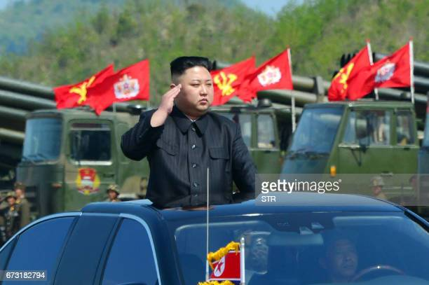 This undated picture released by North Korea's official Korean Central News Agency on April 26 2017 shows North Korean leader Kim JongUn attending...