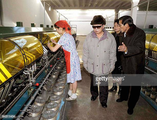 This undated picture released from Korean Central News Agency on January 16 2008 shows North Korean leader Kim Jong Il inspecting the Pyongyang Silk...