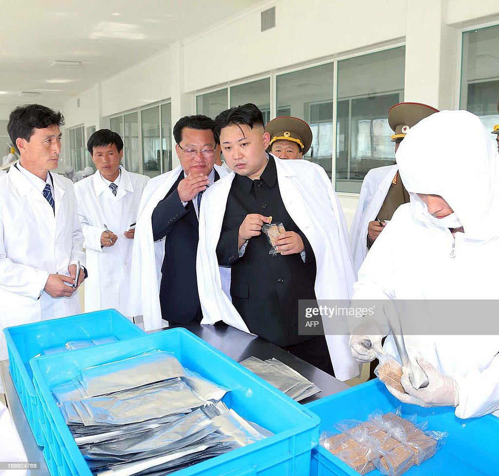 This undated picture, released from North Korea's official Korean Central News Agency (KCNA) on May 17, 2013 shows North Korean leader Kim Jong Un (C) inspecting the February 20 factory of the Kore...