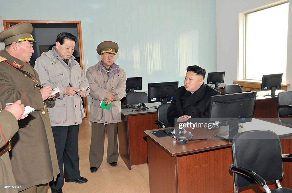 This undated picture released from North Korea's official Korean Central News Agency (KCNA) on January 12, 2014 shows North Korean leader Kim Jong-Un (R) inspecting the command of Korean People's Army (KPA) Unit 534. AFP PHOTO / KCNA via KNS REPUBLIC OF KOREA OUT THIS PICTURE WAS MADE AVAILABLE BY A THIRD PARTY. AFP CAN NOT INDEPENDENTLY VERIFY THE AUTHENTICITY, LOCATION, DATE AND CONTENT OF THIS IMAGE. THIS PHOTO IS DISTRIBUTED EXACTLY AS RECEIVED BY AFP ---EDITORS NOTE--- RESTRICTED TO EDITORIAL USE - MANDATORY CREDIT 'AFP PHOTO / KCNA VIA KNS' - NO