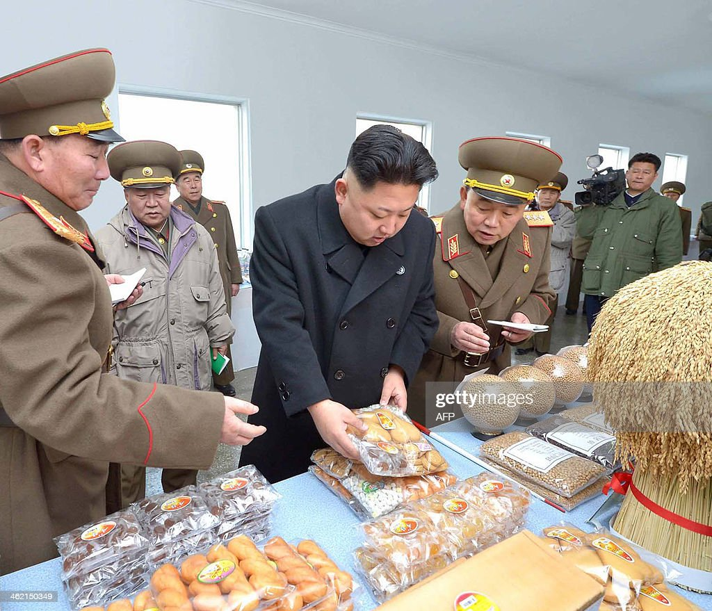 This undated picture released from North Korea's official Korean Central News Agency (KCNA) on January 12, 2014 shows North Korean leader Kim Jong-Un (C) inspecting the command of Korean People's Army (KPA) Unit 534. AFP PHOTO / KCNA via KNS REPUBLIC OF KOREA OUT THIS PICTURE WAS MADE AVAILABLE BY A THIRD PARTY. AFP CAN NOT INDEPENDENTLY VERIFY THE AUTHENTICITY, LOCATION, DATE AND CONTENT OF THIS IMAGE. THIS PHOTO IS DISTRIBUTED EXACTLY AS RECEIVED BY AFP ---EDITORS NOTE--- RESTRICTED TO EDITORIAL USE - MANDATORY CREDIT 'AFP PHOTO / KCNA VIA KNS' - NO